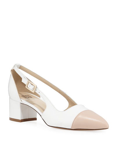 Lisette Two-Tone Leather Slingback Pumps