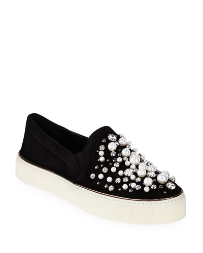 Decor Suede Embellished Slip-On Sneakers