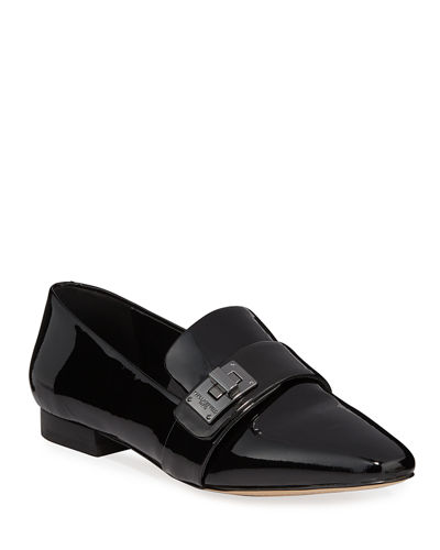 Nelia Patent Leather Turn-Lock Loafers