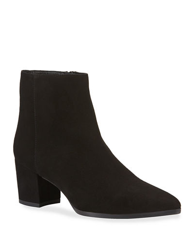 Zepher Suede Zip Booties  Brown