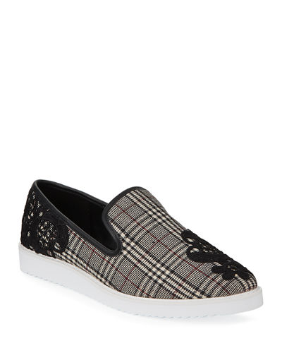 Carlyn Embroidered Plaid Slip-On Sneakers