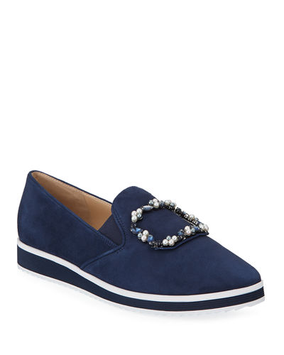 Kalana Jeweled Suede Slip-On Sneakers