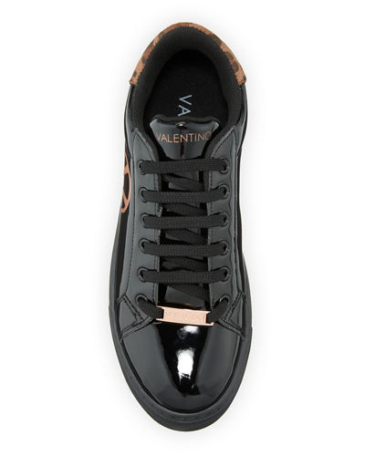 Petra Patent Leopard Low-Top Sneakers