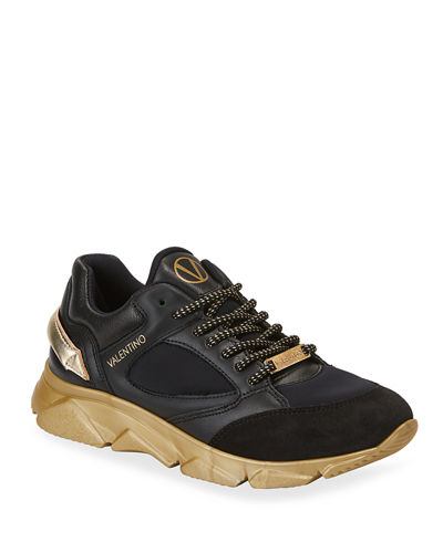 Theo Mixed Leather Two-Tone Sneakers