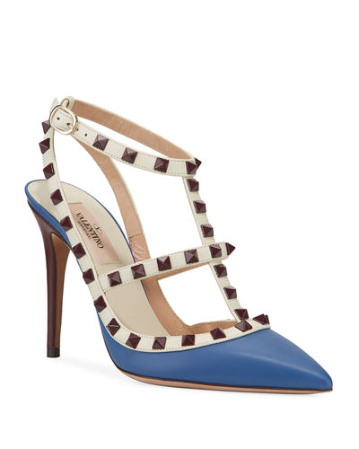 Rockstud Leather Caged Pumps