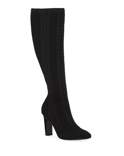 Davis Herringbone Stretch Knit Knee Boots