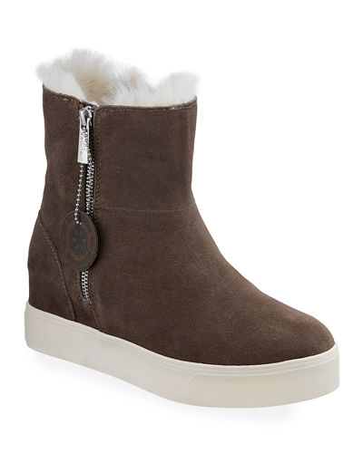 Wallace High-Top Suede Zip Bootie Sneakers