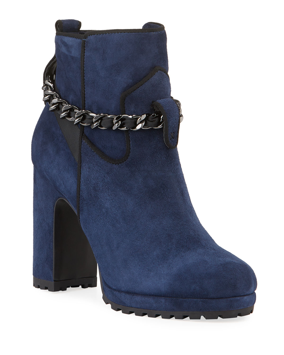 Karl Lagerfeld Boots LARK SUEDE CHAIN BOOTIES