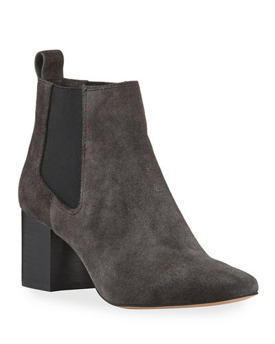 Pearl Gored Suede Booties