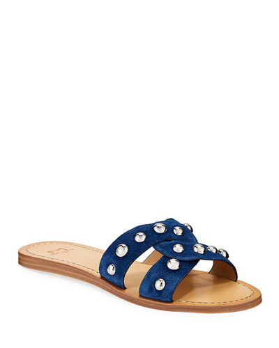 Pagie Flat Studded Slide Sandals