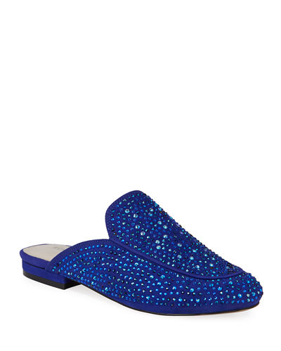 Wallice Beaded Suede Mule Loafers