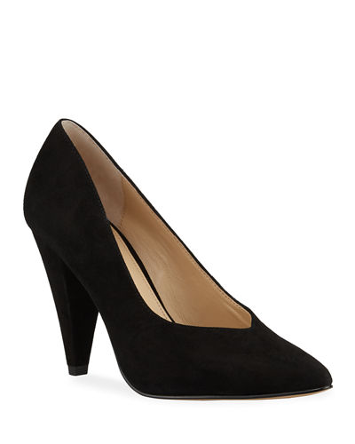 Lina Suede Tapered-Heel Pumps