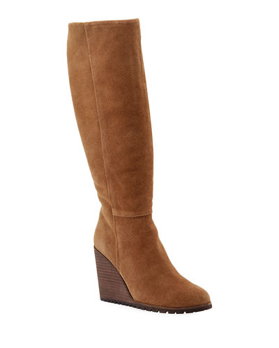 Cleveland Suede Wedge Knee Boots