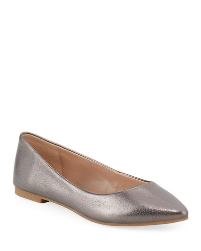 Millie Metallic Leather Ballerina Flats