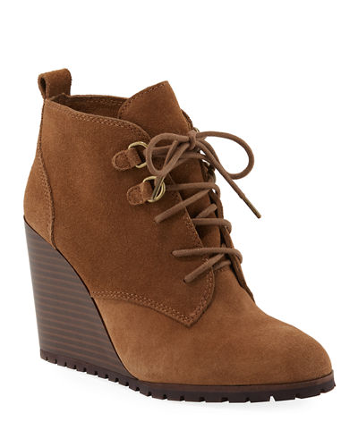 Paris Suede Wedge Lace-Up Booties