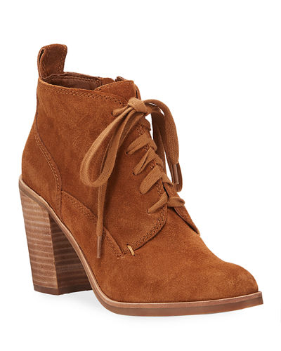 Sabrina Suede Lace-Up Booties