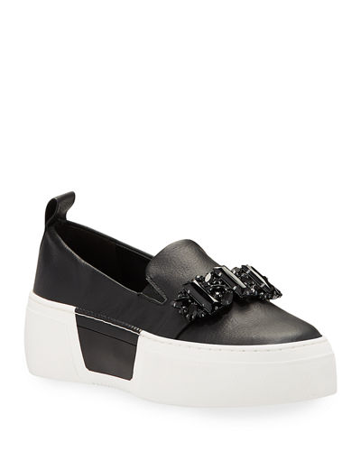 Lamirra Crystal-Embellished Leather Platform Sneakers