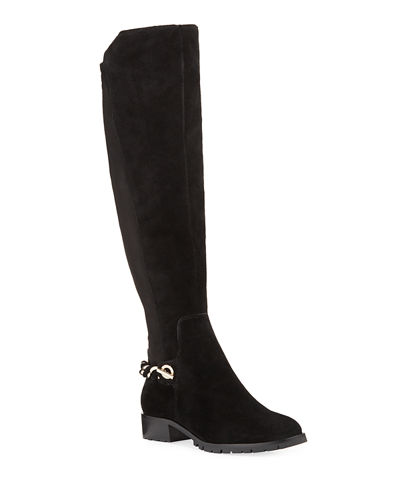 Skylar Over-the-Knee Suede Chain Riding Boots