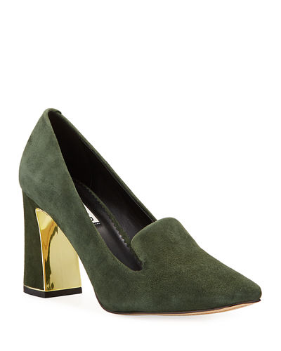 Gracie Mirrored-Heel Suede Pump
