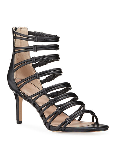 Maria Leather Cage Stiletto Sandals