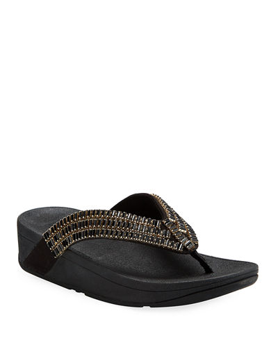 Surfa Beaded Thong Platform Sandals