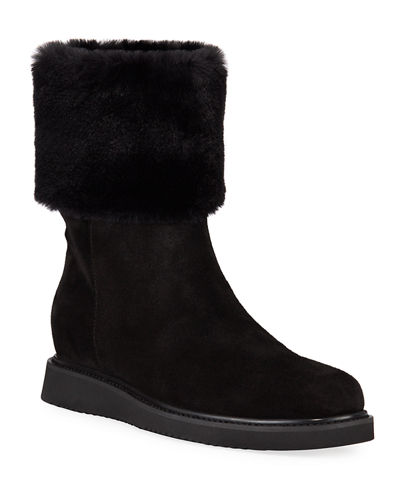 Carlin Suede Faux-Fur Booties