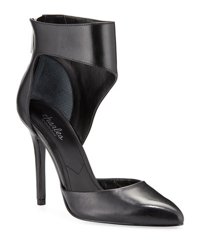 Proud Leather Ankle-Cuff Pumps