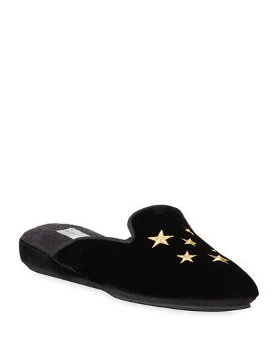 Stars Embroidered Velvet Slippers