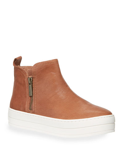 Cindy Dual-Zip Leather Bootie Sneakers