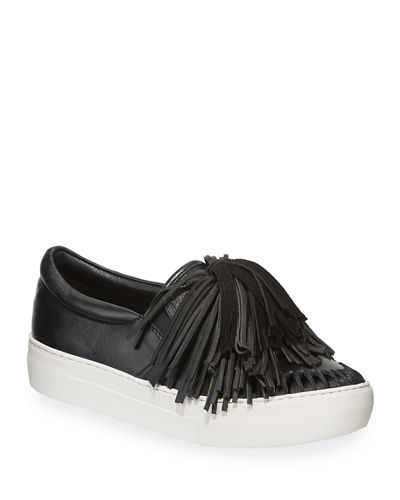 Aria Fringe Leather Low-Top Sneakers