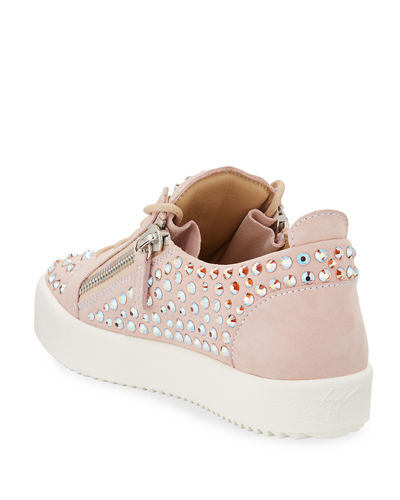 Crystal Studded Leather Low-Top Sneakers