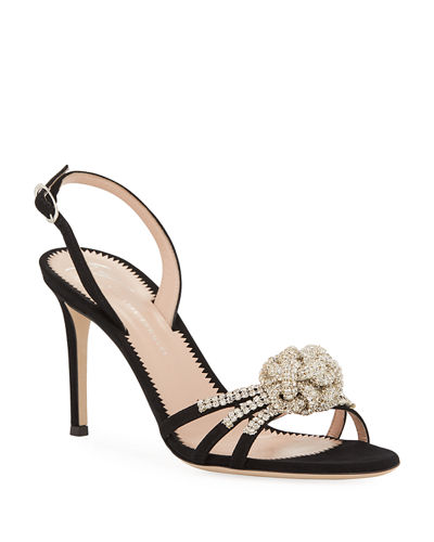 Embellished Suede Cocktail Sandals