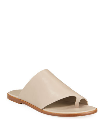 Edris Flat Leather Slide Sandals