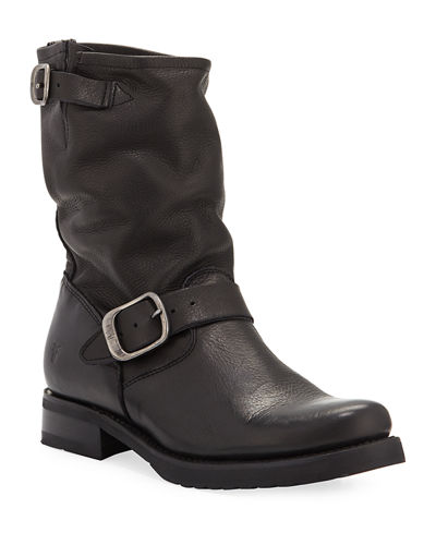 Veronica Short Leather Moto Boots