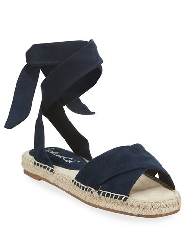 Tereza Suede Ankle-Wrap Flat Espadrilles
