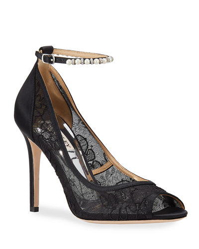 Lesley Lace Peep-Toe Pumps