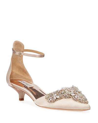 Fiana Jewel Embellished Satin Pumps