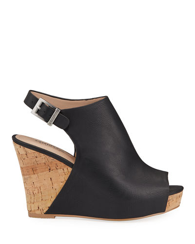 Lobby Peep-Toe Cork Wedge Sandals