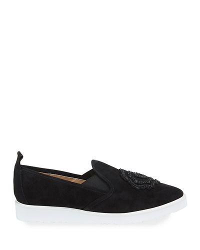 Cyra Embellished Suede Slip-On Sneakers