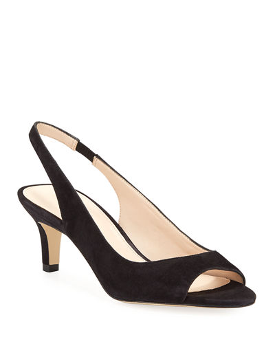 Belini Suede Peep-Toe Pumps