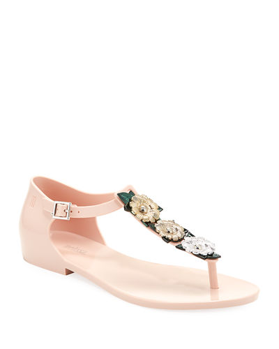 Honey Garden Chrome Flat T-Strap Jelly Sandals