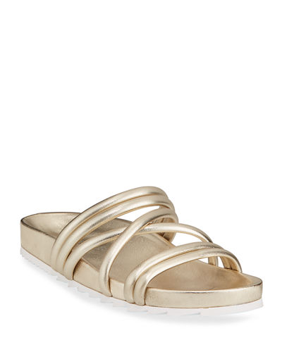 Tess Metallic Leather Strappy Slide Sandals