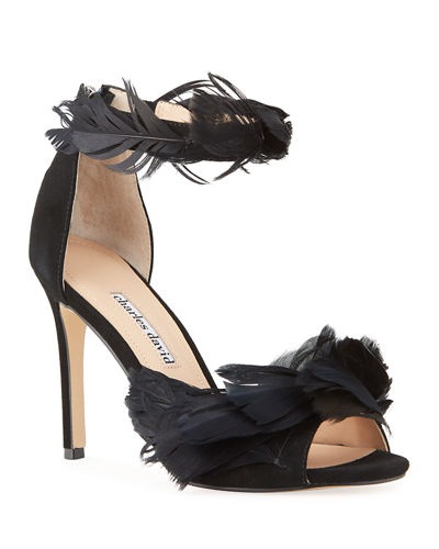 Collector Suede Feather Stiletto Sandals