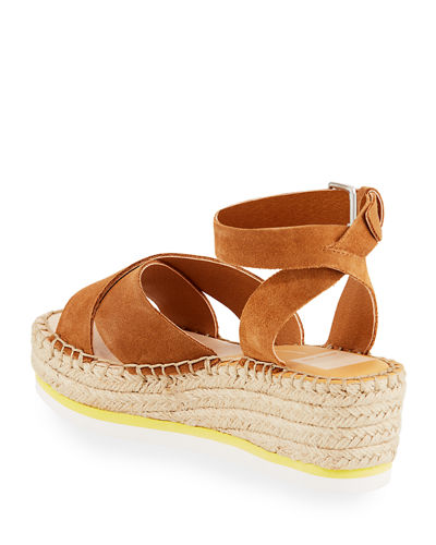 Lacy Suede Espadrille Wedge Sandals