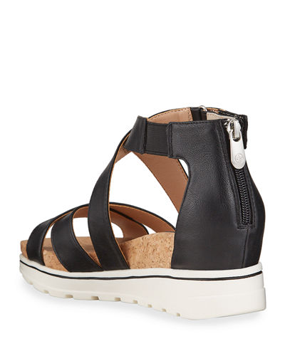 Chita Tumbled Leather Low-Wedge Sandals