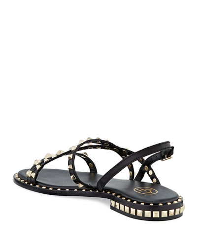Peace Studded Leather Flat Sandals