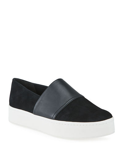 Ward Mixed Leather Slip-on Sneakers