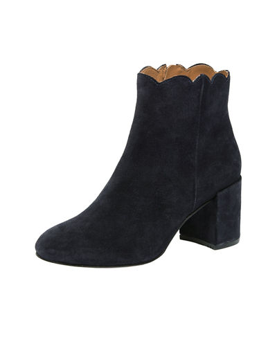 Sylvania Block-Heel Scallop Booties