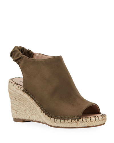 Niccola Slingback Open-Toe Wedge Espadrilles