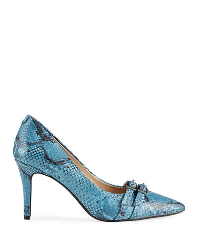 Radella Snake-Print Buckle Pumps